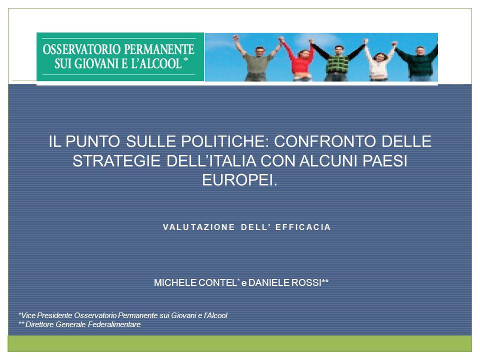VALUTAZIONE DELL EFFICACIA MICHELE CONTEL * e DANIELE ROSSI** IL PUNTO SULLE POLITICHE: CONFRONTO DELLE STRATEGIE DELLITALIA CON ALCUNI PAESI EUROPEI.