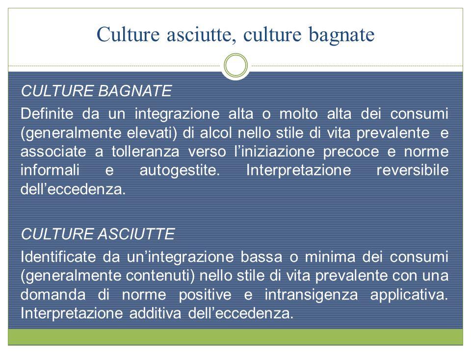 Culture asciutte, culture bagnate CULTURE BAGNATE Definite da un integrazione alta o molto alta dei consumi (generalmente elevati) di alcol nello stil