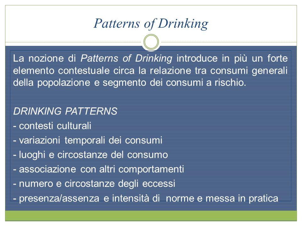 Patterns of Drinking La nozione di Patterns of Drinking introduce in più un forte elemento contestuale circa la relazione tra consumi generali della p