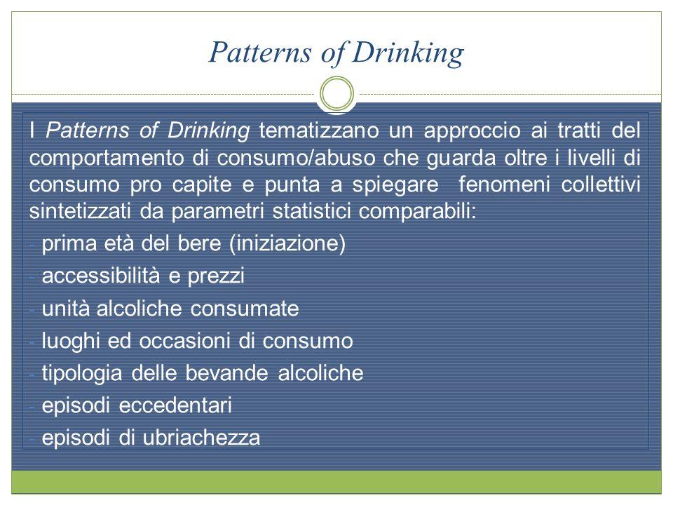 Patterns of Drinking I Patterns of Drinking tematizzano un approccio ai tratti del comportamento di consumo/abuso che guarda oltre i livelli di consum