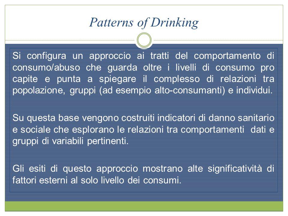 Patterns of Drinking Si configura un approccio ai tratti del comportamento di consumo/abuso che guarda oltre i livelli di consumo pro capite e punta a