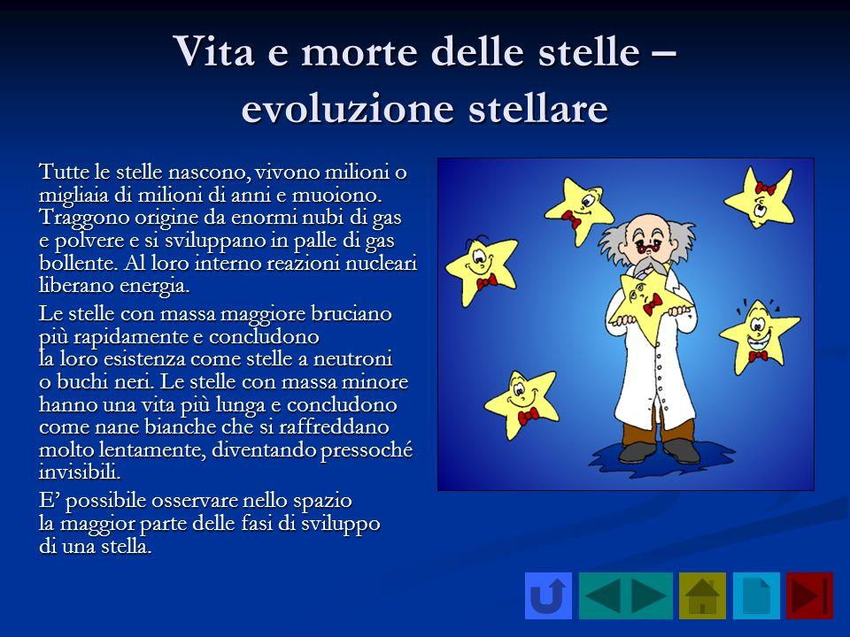 Vita e morte delle stelle – evoluzione stellare Tutte le stelle nascono, vivono milioni o migliaia di milioni di anni e muoiono. Traggono origine da e