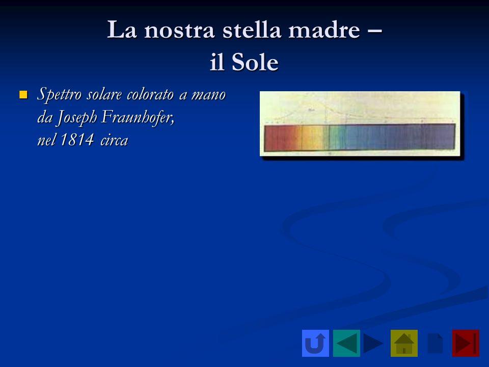 La nostra stella madre – il Sole Spettro solare colorato a mano da Joseph Fraunhofer, nel 1814 circa Spettro solare colorato a mano da Joseph Fraunhof