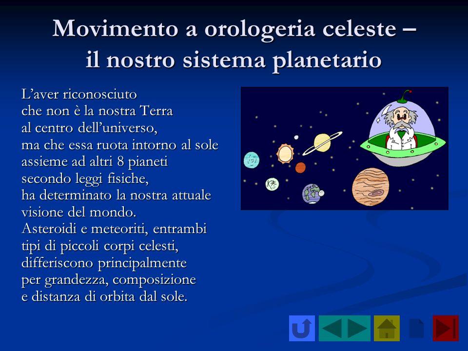 Movimento a orologeria celeste – il nostro sistema planetario Laver riconosciuto che non è la nostra Terra al centro delluniverso, ma che essa ruota i