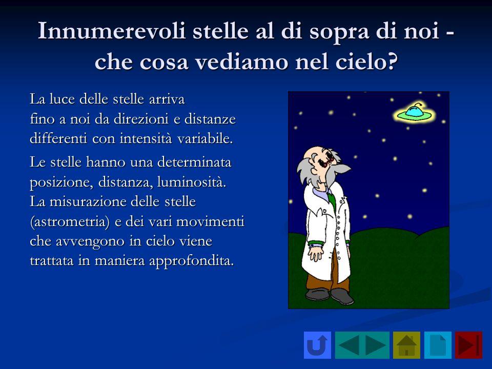 Innumerevoli stelle al di sopra di noi - che cosa vediamo nel cielo? La luce delle stelle arriva fino a noi da direzioni e distanze differenti con int
