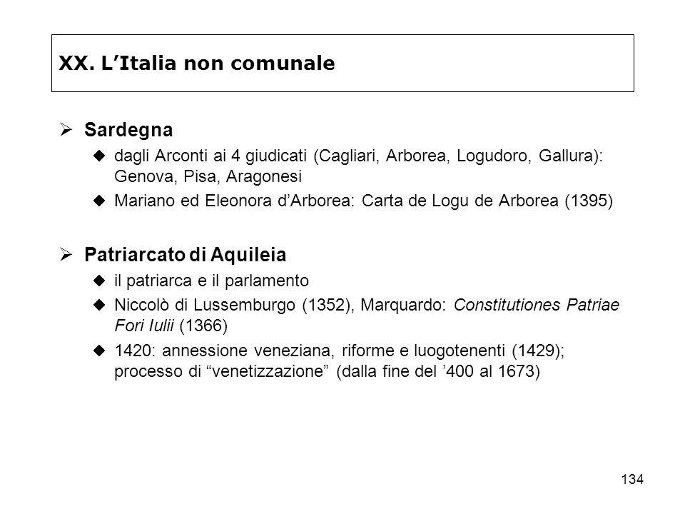134 XX. LItalia non comunale Sardegna dagli Arconti ai 4 giudicati (Cagliari, Arborea, Logudoro, Gallura): Genova, Pisa, Aragonesi Mariano ed Eleonora