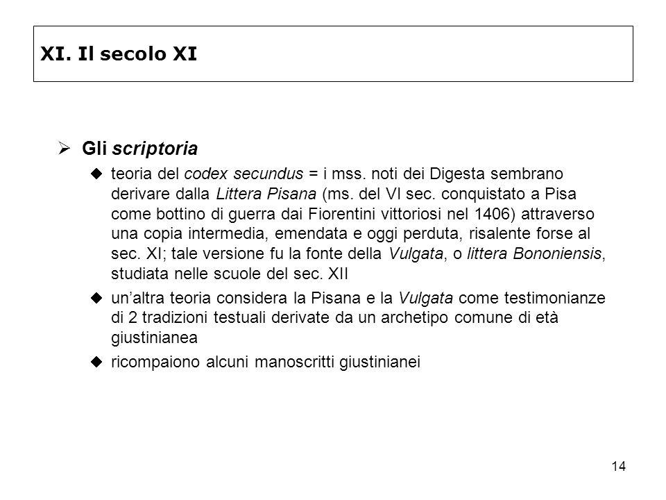14 XI. Il secolo XI Gli scriptoria teoria del codex secundus = i mss. noti dei Digesta sembrano derivare dalla Littera Pisana (ms. del VI sec. conquis