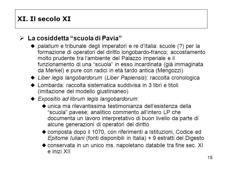 15 XI. Il secolo XI La cosiddetta scuola di Pavia palatium e tribunale degli imperatori e re dItalia: scuole (?) per la formazione di operatori del di