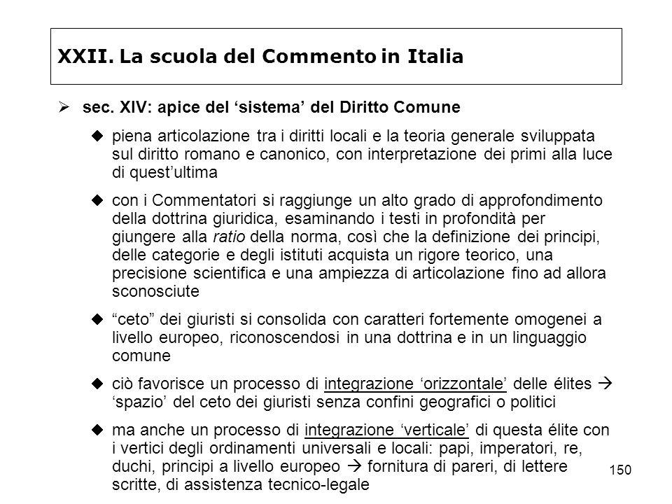 150 XXII. La scuola del Commento in Italia sec. XIV: apice del sistema del Diritto Comune piena articolazione tra i diritti locali e la teoria general