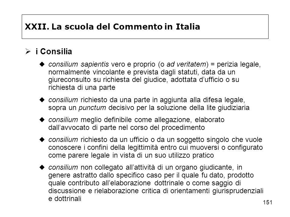 151 XXII. La scuola del Commento in Italia i Consilia consilium sapientis vero e proprio (o ad veritatem) = perizia legale, normalmente vincolante e p