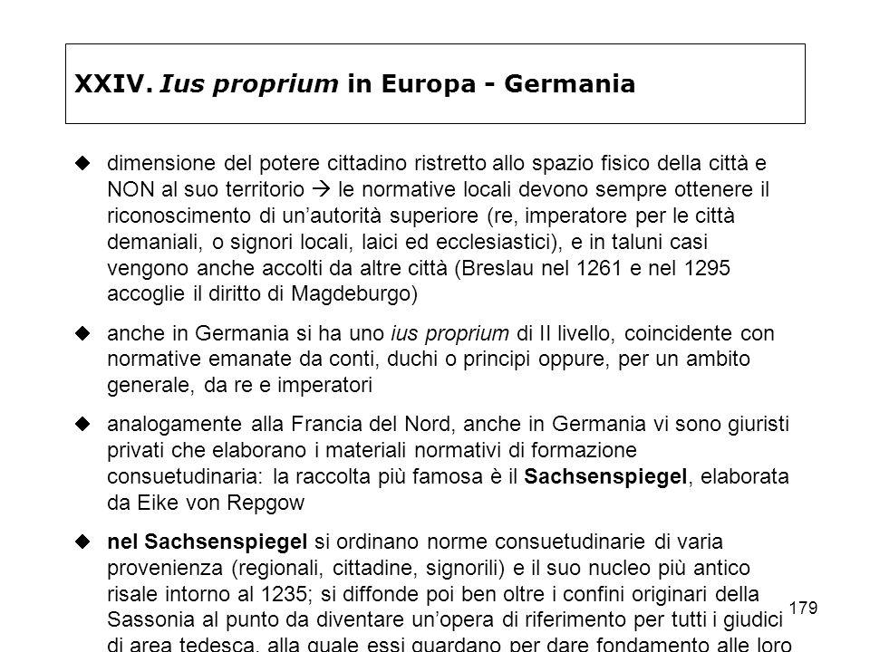 179 XXIV. Ius proprium in Europa - Germania dimensione del potere cittadino ristretto allo spazio fisico della città e NON al suo territorio le normat