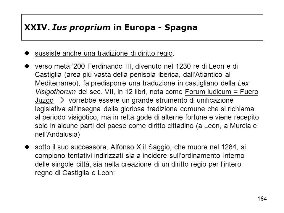 184 XXIV. Ius proprium in Europa - Spagna sussiste anche una tradizione di diritto regio: verso metà 200 Ferdinando III, divenuto nel 1230 re di Leon