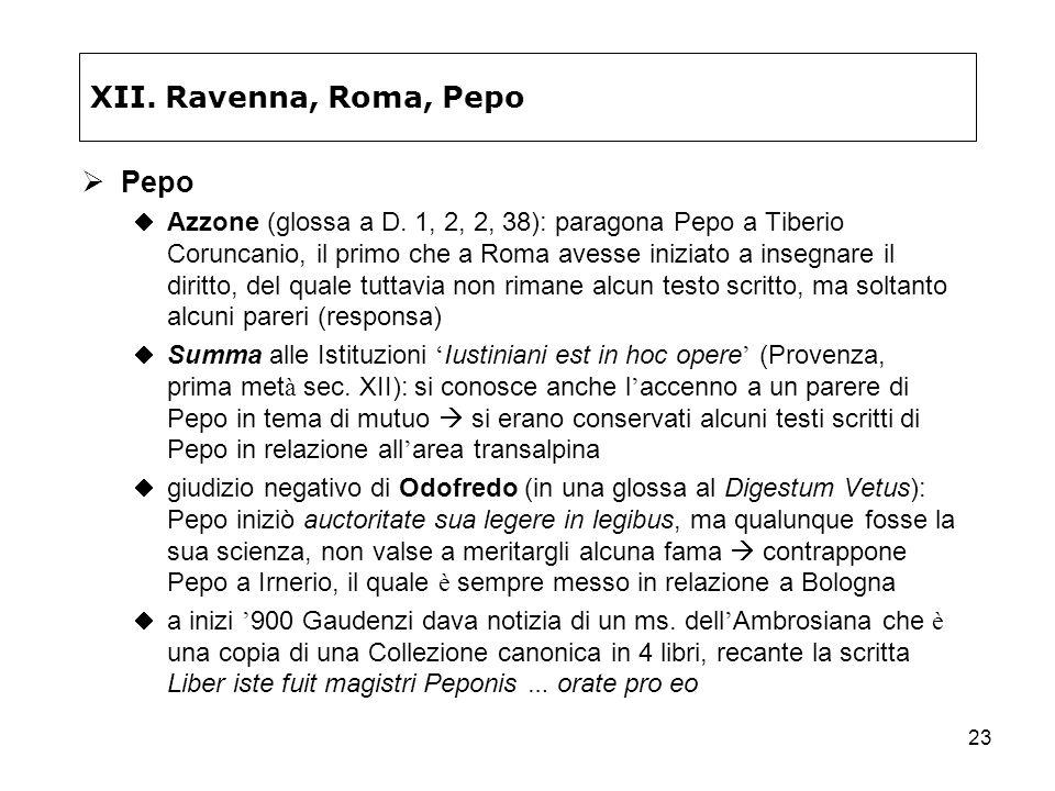 23 XII. Ravenna, Roma, Pepo Pepo Azzone (glossa a D. 1, 2, 2, 38): paragona Pepo a Tiberio Coruncanio, il primo che a Roma avesse iniziato a insegnare