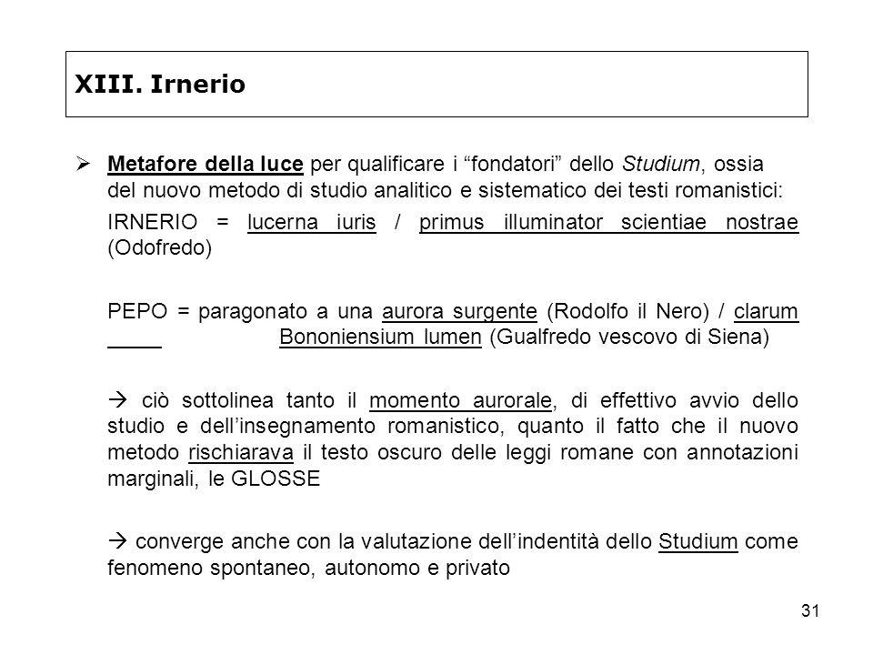 31 XIII. Irnerio Metafore della luce per qualificare i fondatori dello Studium, ossia del nuovo metodo di studio analitico e sistematico dei testi rom