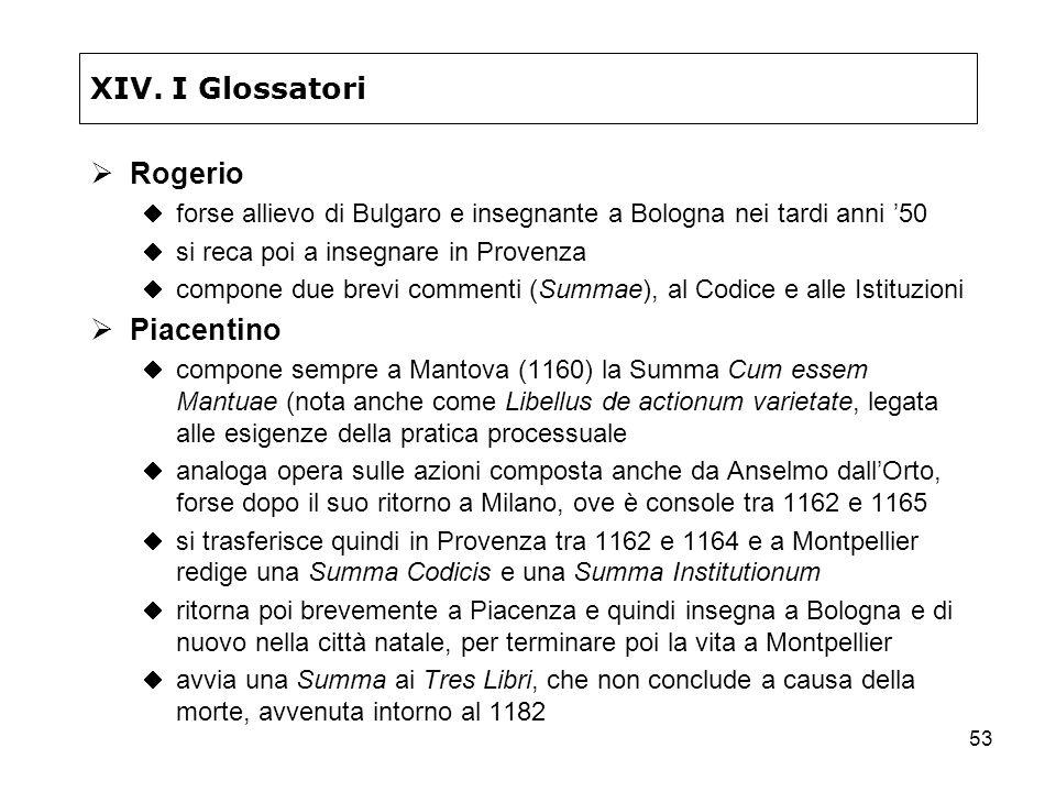 53 XIV. I Glossatori Rogerio forse allievo di Bulgaro e insegnante a Bologna nei tardi anni 50 si reca poi a insegnare in Provenza compone due brevi c