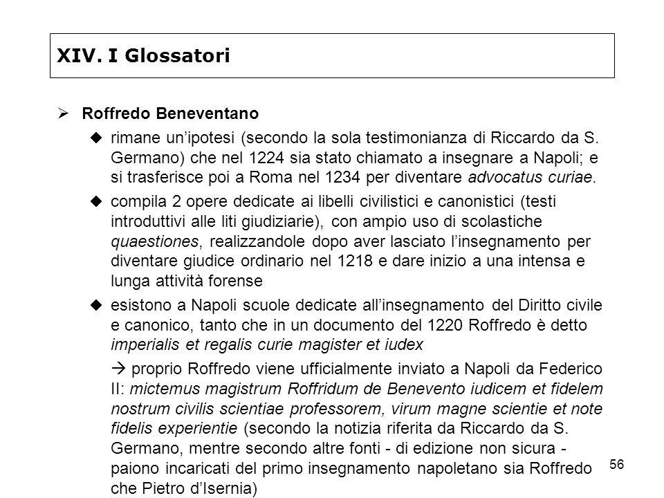 56 XIV. I Glossatori Roffredo Beneventano rimane unipotesi (secondo la sola testimonianza di Riccardo da S. Germano) che nel 1224 sia stato chiamato a