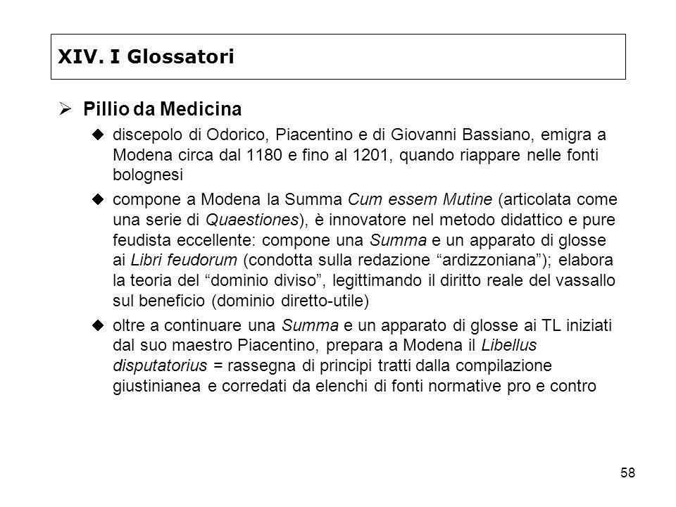 58 XIV. I Glossatori Pillio da Medicina discepolo di Odorico, Piacentino e di Giovanni Bassiano, emigra a Modena circa dal 1180 e fino al 1201, quando