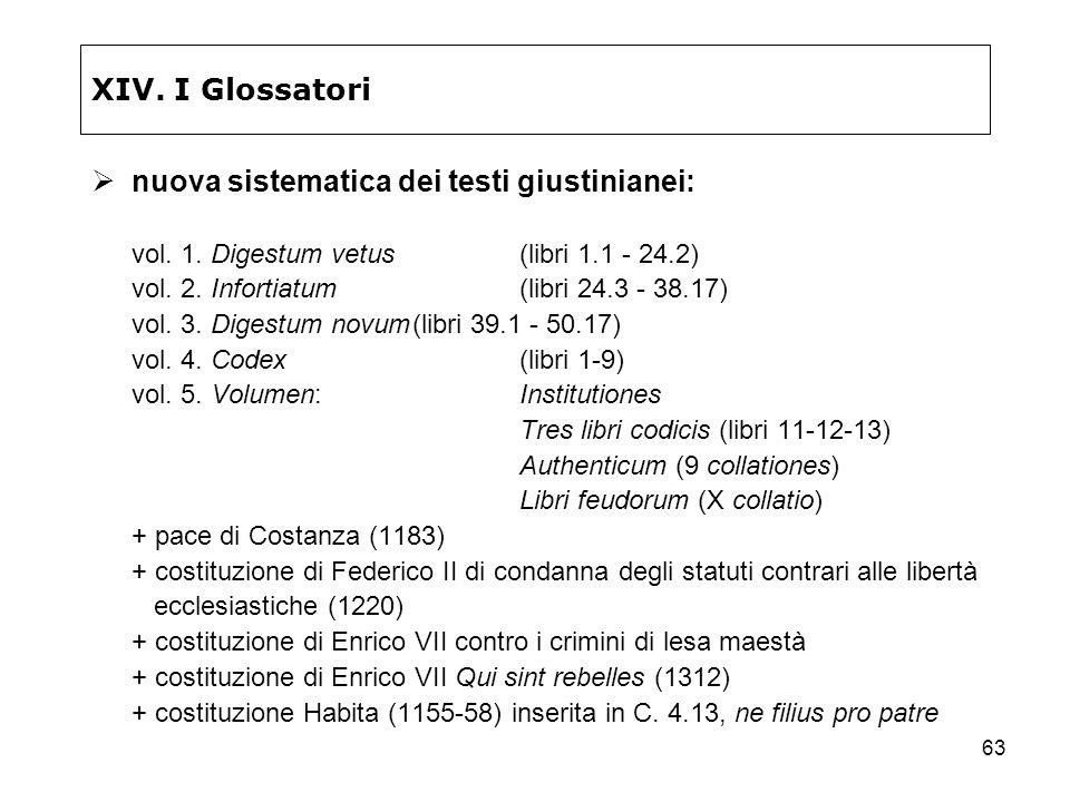 63 XIV. I Glossatori nuova sistematica dei testi giustinianei: vol. 1. Digestum vetus(libri 1.1 - 24.2) vol. 2. Infortiatum(libri 24.3 - 38.17) vol. 3
