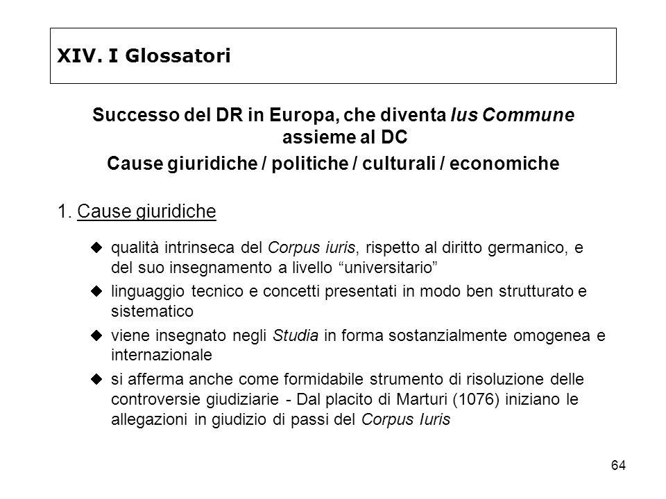64 XIV. I Glossatori Successo del DR in Europa, che diventa Ius Commune assieme al DC Cause giuridiche / politiche / culturali / economiche 1. Cause g