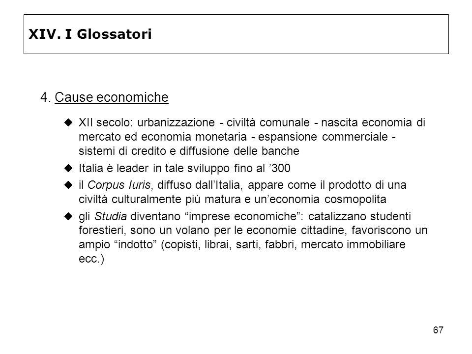 67 XIV. I Glossatori 4. Cause economiche XII secolo: urbanizzazione - civiltà comunale - nascita economia di mercato ed economia monetaria - espansion
