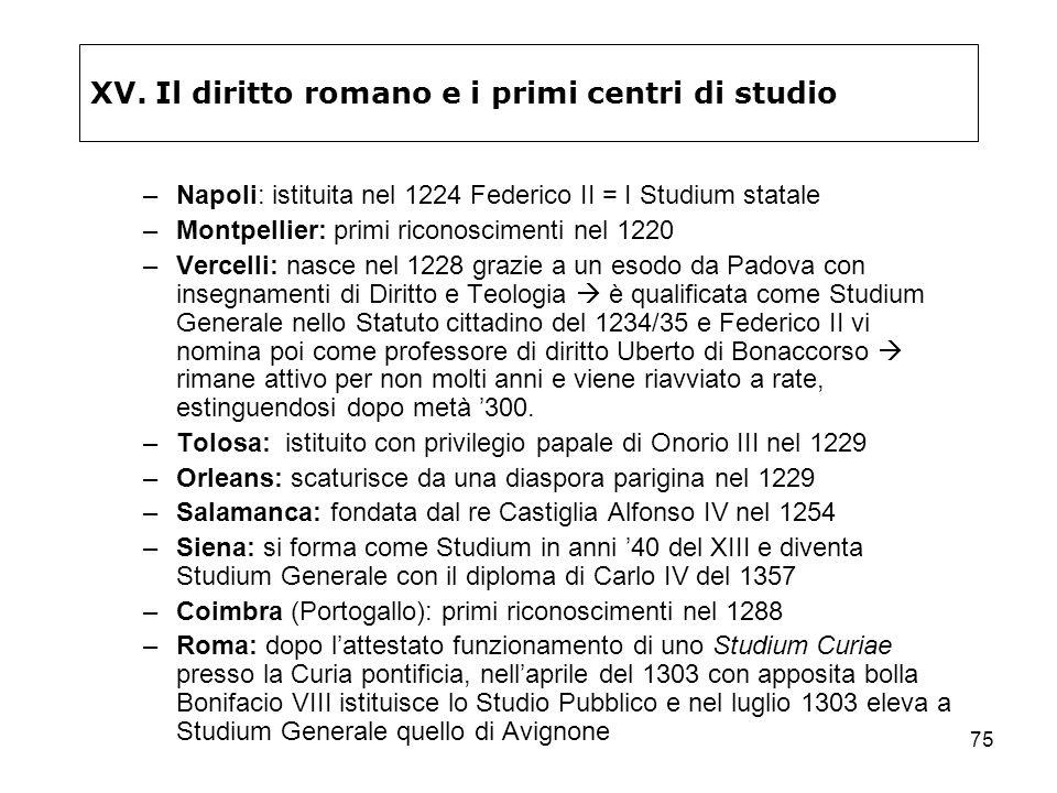 75 XV. Il diritto romano e i primi centri di studio –Napoli: istituita nel 1224 Federico II = I Studium statale –Montpellier: primi riconoscimenti nel