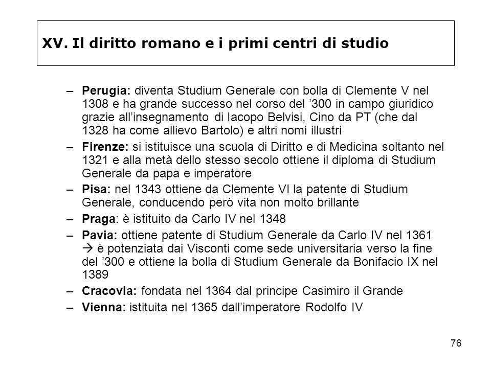 76 XV. Il diritto romano e i primi centri di studio –Perugia: diventa Studium Generale con bolla di Clemente V nel 1308 e ha grande successo nel corso