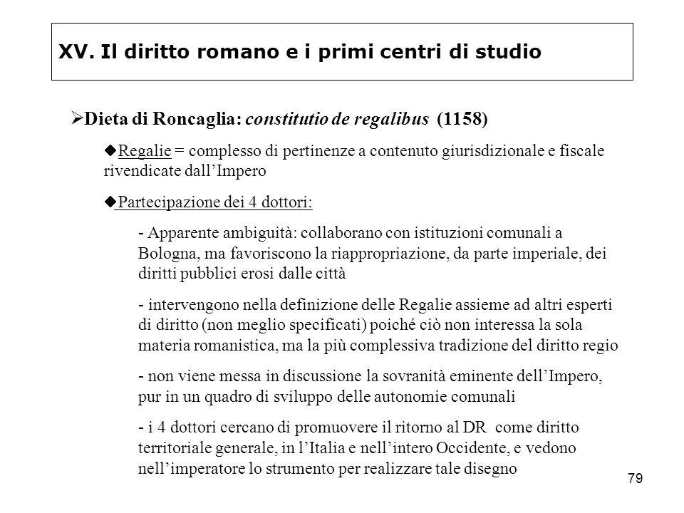 79 XV. Il diritto romano e i primi centri di studio Dieta di Roncaglia: constitutio de regalibus (1158) Regalie = complesso di pertinenze a contenuto
