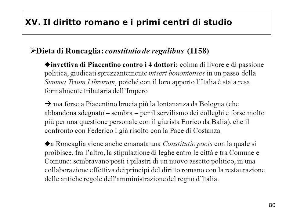 80 XV. Il diritto romano e i primi centri di studio Dieta di Roncaglia: constitutio de regalibus (1158) invettiva di Piacentino contro i 4 dottori: co