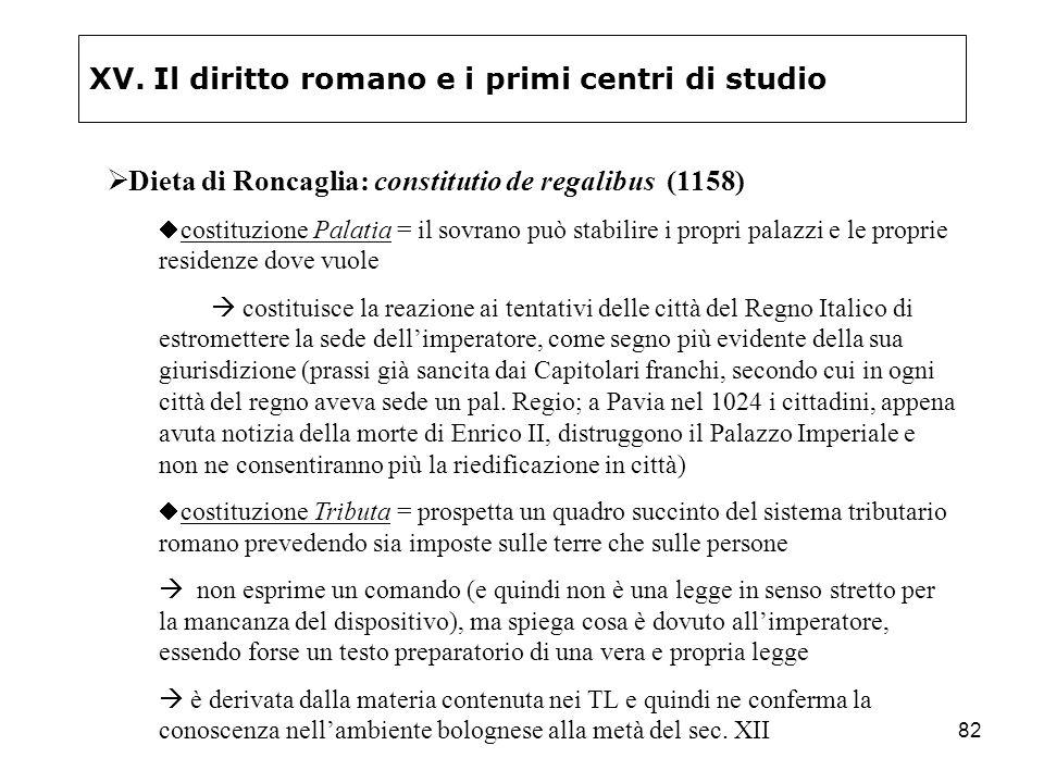 82 XV. Il diritto romano e i primi centri di studio Dieta di Roncaglia: constitutio de regalibus (1158) costituzione Palatia = il sovrano può stabilir