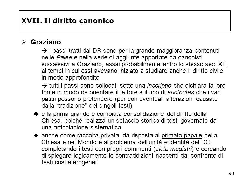 90 XVII. Il diritto canonico Graziano i passi tratti dal DR sono per la grande maggioranza contenuti nelle Palee e nella serie di aggiunte apportate d