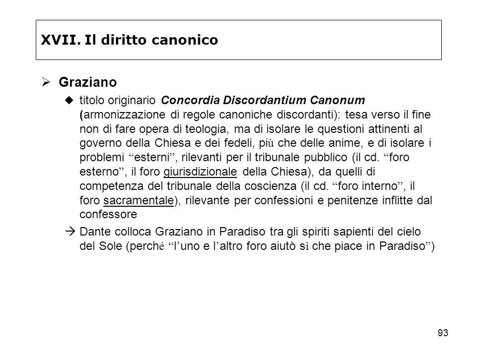 93 XVII. Il diritto canonico Graziano titolo originario Concordia Discordantium Canonum (armonizzazione di regole canoniche discordanti): tesa verso i