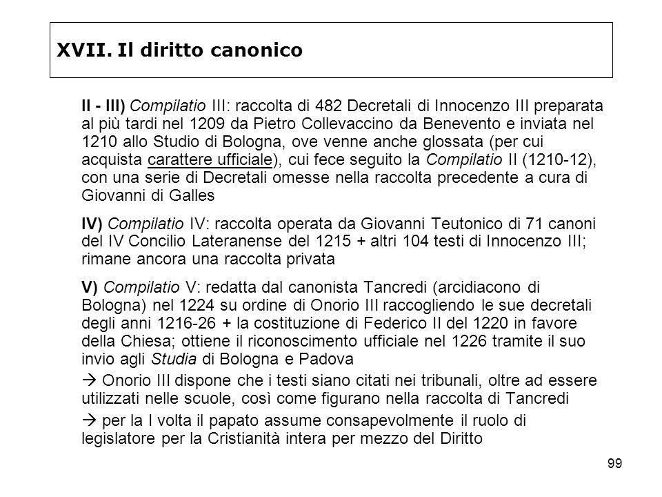 99 XVII. Il diritto canonico II - III) Compilatio III: raccolta di 482 Decretali di Innocenzo III preparata al più tardi nel 1209 da Pietro Collevacci