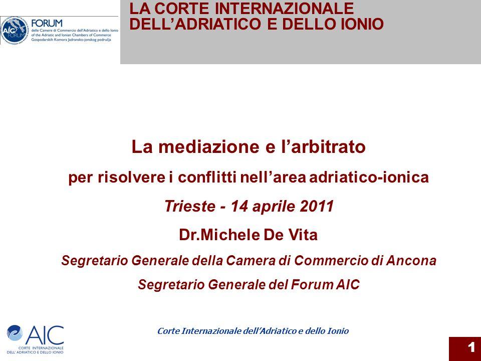 Corte Internazionale dellAdriatico e dello Ionio 2 Lorganismo nasce nel 2001 da un protocollo di intesa tra la Camera di Commercio di Ancona e la Camera dellEconomia di Spalato.