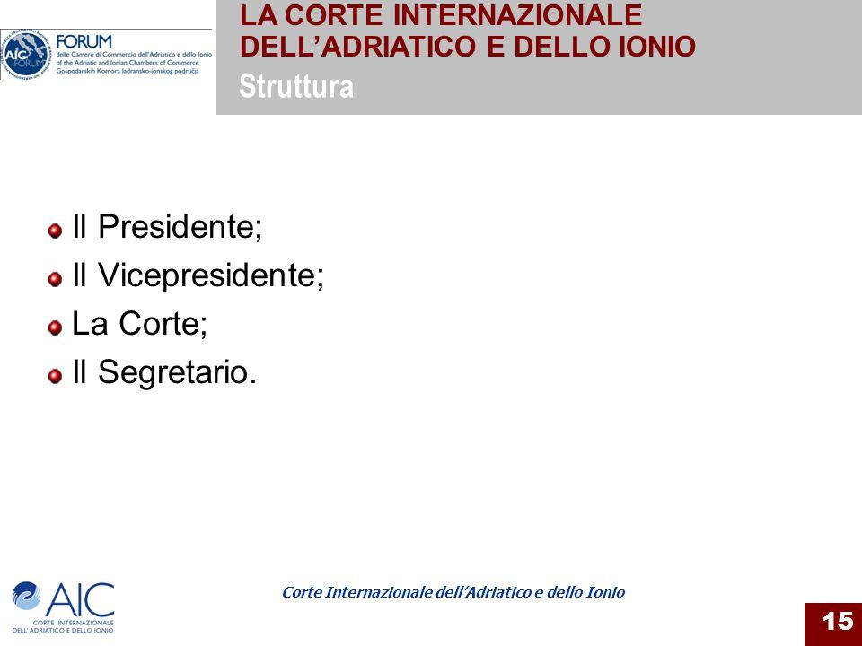 Corte Internazionale dellAdriatico e dello Ionio 15 Il Presidente; Il Vicepresidente; La Corte; Il Segretario. Struttura LA CORTE INTERNAZIONALE DELLA