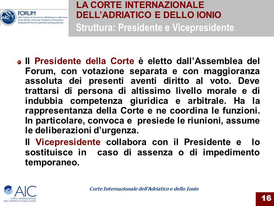 Corte Internazionale dellAdriatico e dello Ionio 16 Il Presidente della Corte è eletto dallAssemblea del Forum, con votazione separata e con maggioran