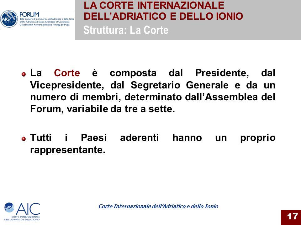 Corte Internazionale dellAdriatico e dello Ionio 17 La Corte è composta dal Presidente, dal Vicepresidente, dal Segretario Generale e da un numero di