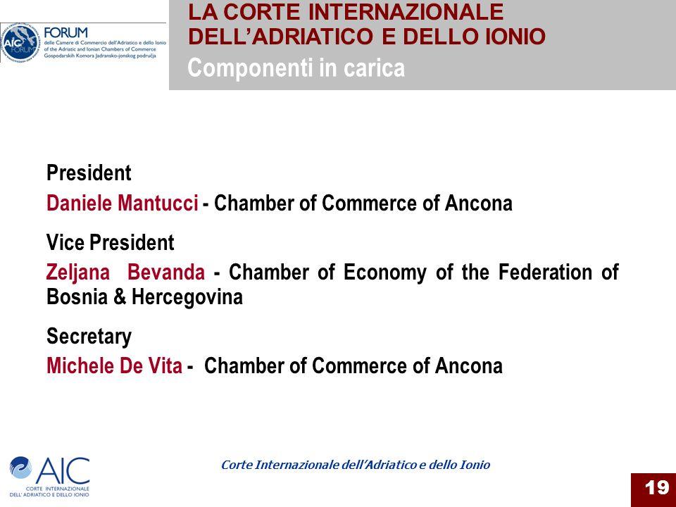 Corte Internazionale dellAdriatico e dello Ionio 19 President Daniele Mantucci - Chamber of Commerce of Ancona Vice President Zeljana Bevanda - Chambe