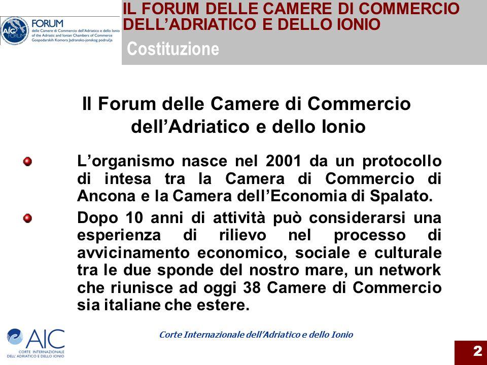 Corte Internazionale dellAdriatico e dello Ionio 2 Lorganismo nasce nel 2001 da un protocollo di intesa tra la Camera di Commercio di Ancona e la Came