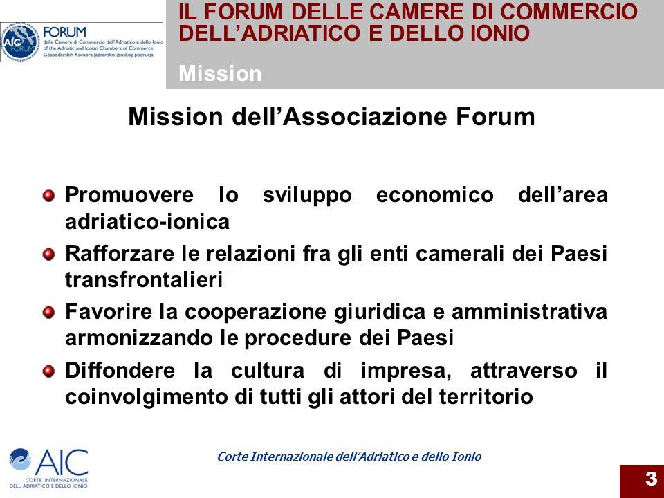Corte Internazionale dellAdriatico e dello Ionio 3 Mission dellAssociazione Forum Promuovere lo sviluppo economico dellarea adriatico-ionica Rafforzar