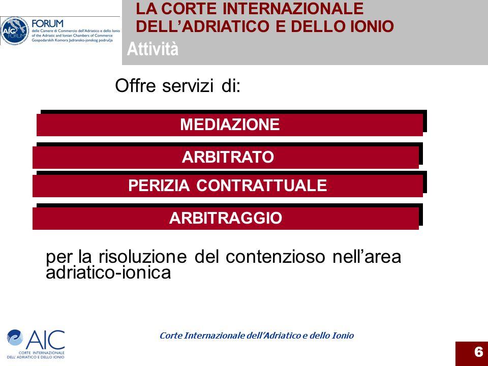 Corte Internazionale dellAdriatico e dello Ionio 6 Offre servizi di: ARBITRATO MEDIAZIONE ARBITRAGGIO PERIZIA CONTRATTUALE Attività per la risoluzione