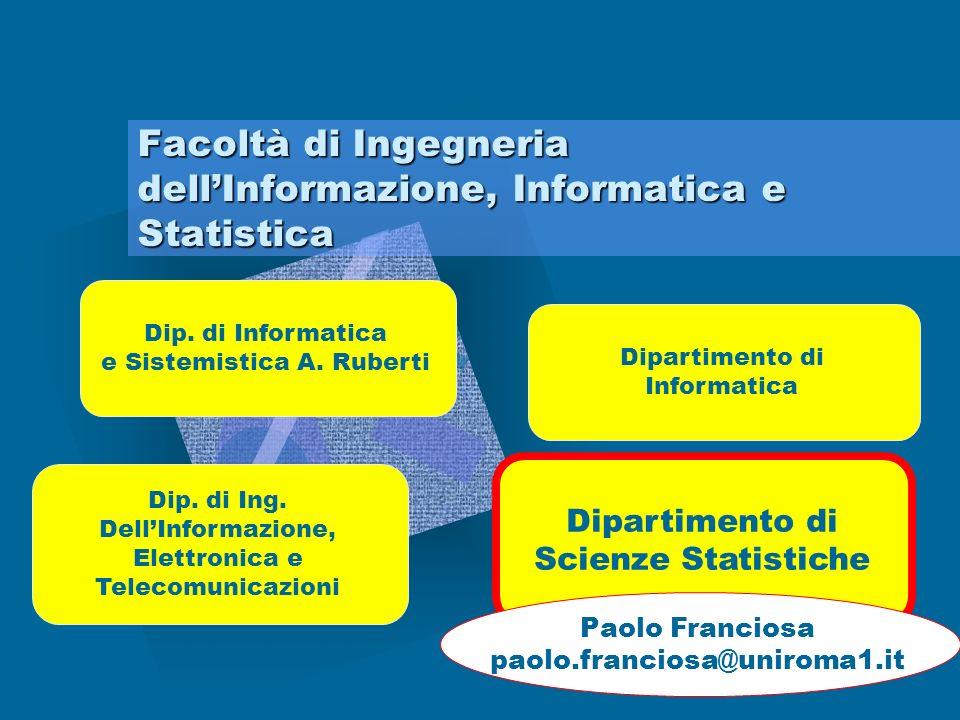 Il corpo docente della Facoltà Statistici Probabilisti Matematici Informatici Aziendalisti Demografi Sociologi Attuari Giuristi Ricercatori operativiEconomisti Matematici finanziari