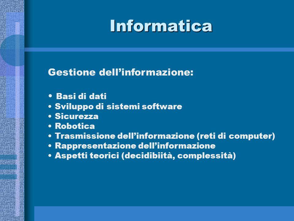 Informatica Gestione dellinformazione: Basi di dati Sviluppo di sistemi software Sicurezza Robotica Trasmissione dellinformazione (reti di computer) R