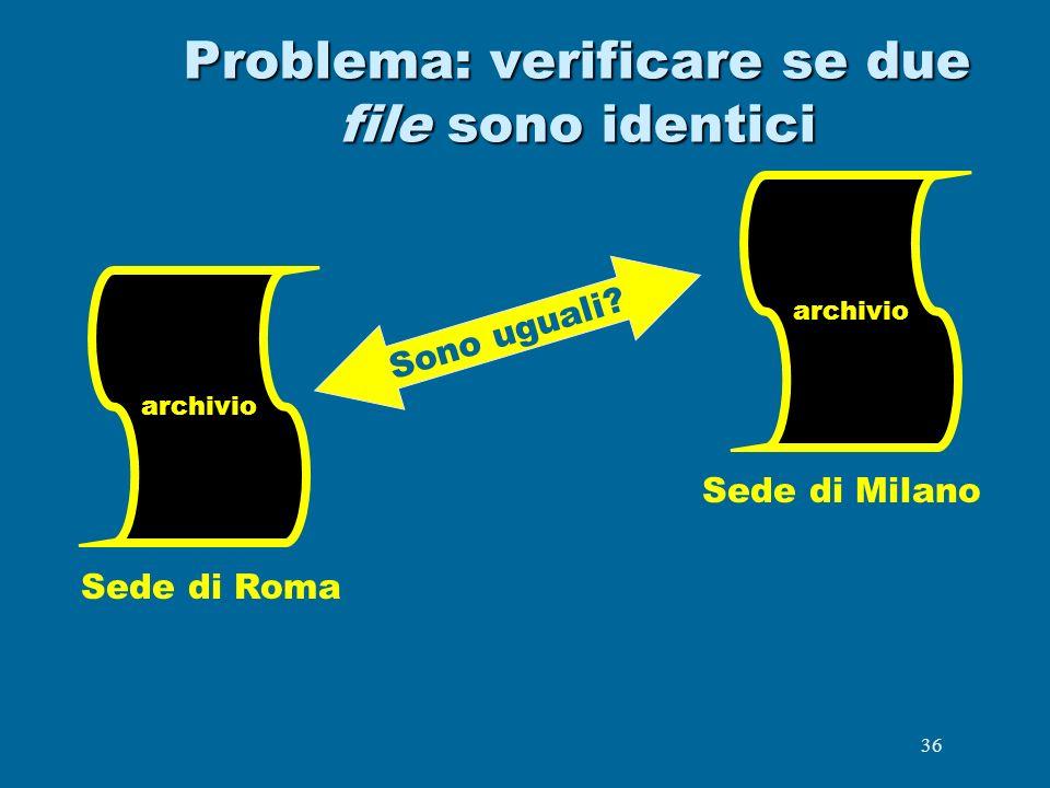 36 Problema: verificare se due file sono identici archivio Sede di Roma Sede di Milano Sono uguali? archivio