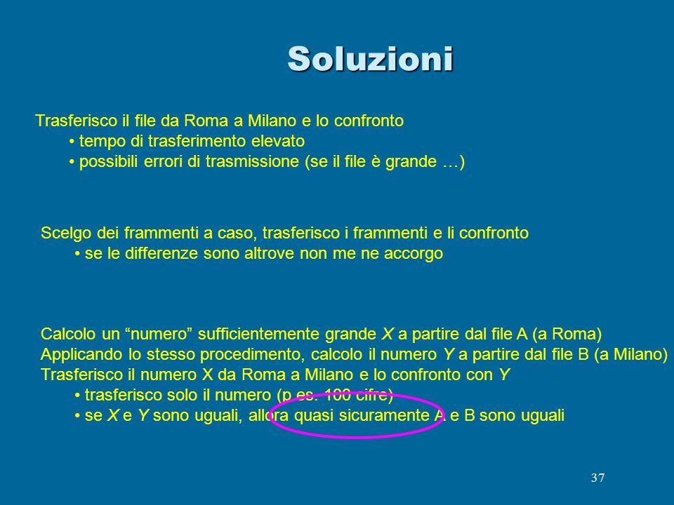 37Soluzioni Trasferisco il file da Roma a Milano e lo confronto tempo di trasferimento elevato possibili errori di trasmissione (se il file è grande …