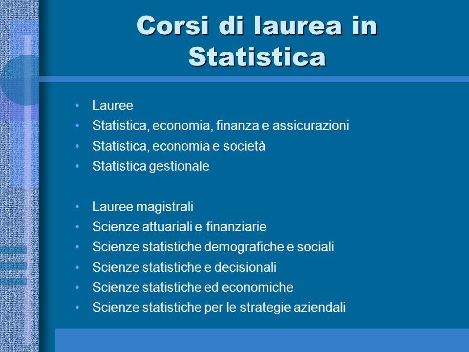 Corsi di laurea in Statistica Lauree Statistica, economia, finanza e assicurazioni Statistica, economia e società Statistica gestionale Lauree magistr
