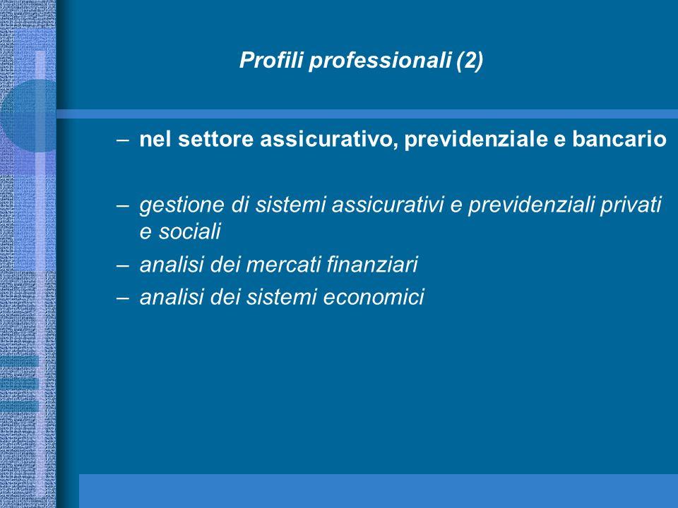 Profili professionali (2) –nel settore assicurativo, previdenziale e bancario –gestione di sistemi assicurativi e previdenziali privati e sociali –ana