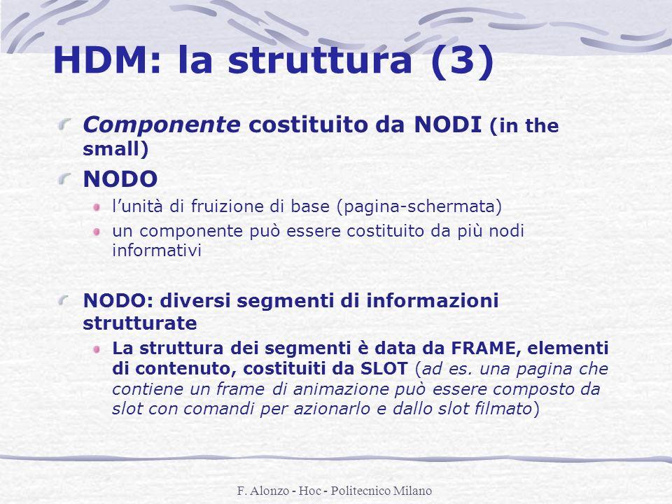 F. Alonzo - Hoc - Politecnico Milano HDM: la struttura (3) Componente costituito da NODI (in the small) NODO lunità di fruizione di base (pagina-scher