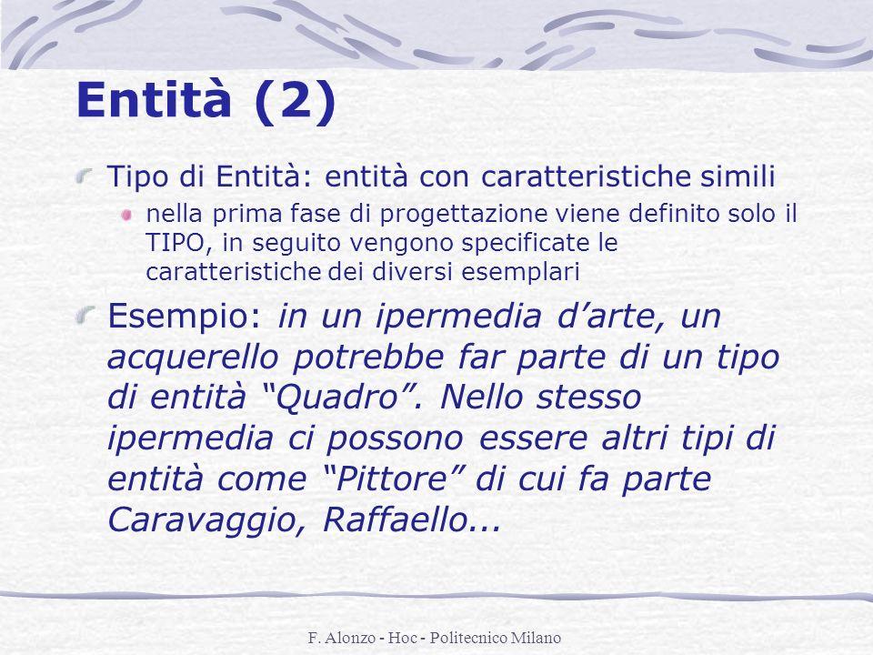 F. Alonzo - Hoc - Politecnico Milano Entità (2) Tipo di Entità: entità con caratteristiche simili nella prima fase di progettazione viene definito sol