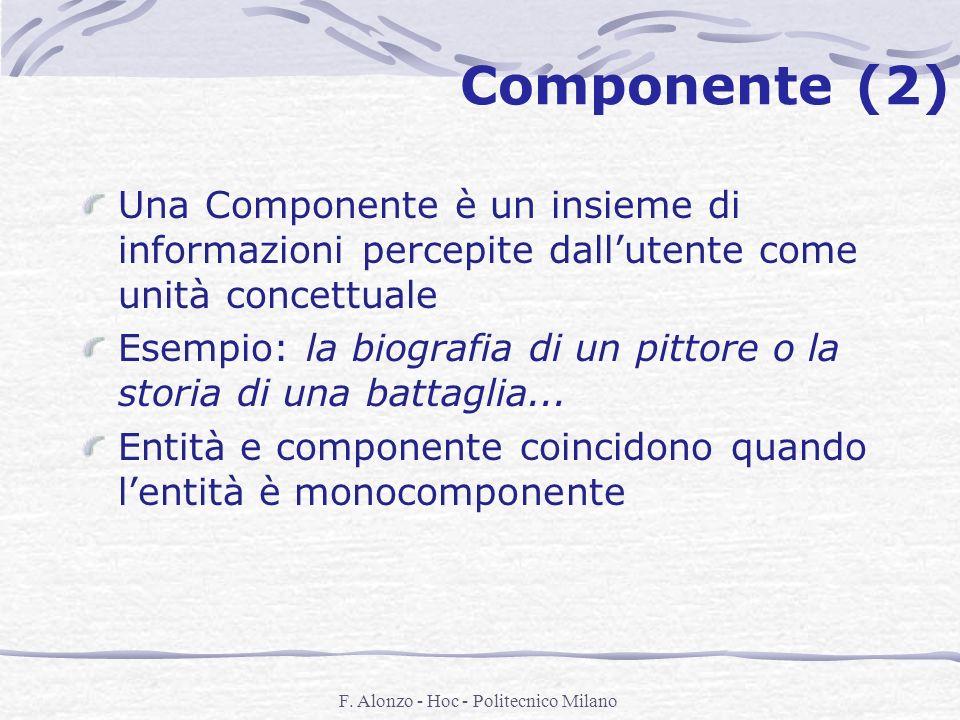 F. Alonzo - Hoc - Politecnico Milano Componente (2) Una Componente è un insieme di informazioni percepite dallutente come unità concettuale Esempio: l