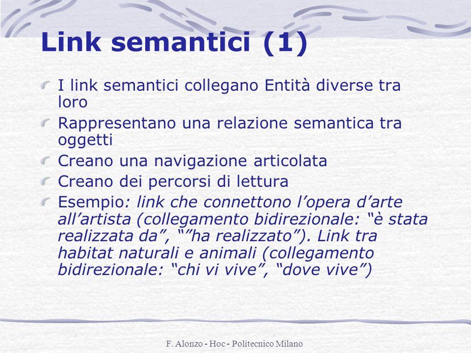 F. Alonzo - Hoc - Politecnico Milano Link semantici (1) I link semantici collegano Entità diverse tra loro Rappresentano una relazione semantica tra o
